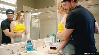 Stepdad fucks seductive matured stepdaughter taking a shower