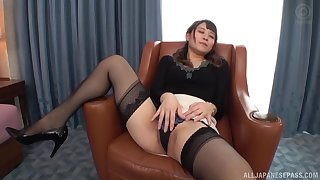 Konoka Yura likes to ride on her lover's hard penis on the armchair