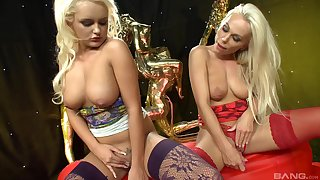 passionate lesbian Caprice Jane use a dildo to please her girlfriend