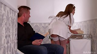 Maid Athina Love shares a cock and swap cum with slutty Yasmin Scott