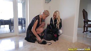 Teen lesbian blonde Kenzie Reeves gets her pussy teased by MILF Ryan