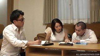 Amateur Japanese brunette cutie seduced into a MMF threesome