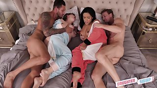 Curvy babes Cara May and Adrian Hush fucked in a foursome