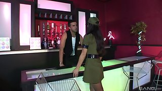 Handjob, blowjob and a missionary fuck with Alexis Silver in a uniform