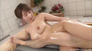 Oily bathtub hardcore sex session with Japanese Ayami Shunka