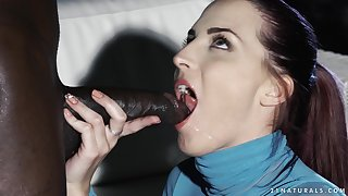 Redhead babe Lyen Parker gets a big black cock deep and swallows cum