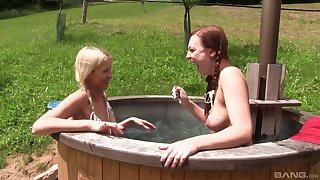 Blonde raunchy babe Karol Lilien shares a cock and cum with her friend
