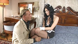 Brunette MILF maid Bijou wears fishnets and high heels while she fucks