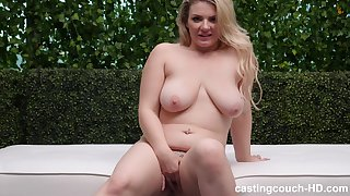 Busty buxom blonde MILF gets her mouth stretched by a big black cock