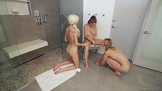 Lesbians Alex Chance and Dakota James seduce a girl for a threesome