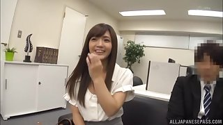 Hardcore cock riding and fucking inside of a Japanese office