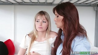 Statuesque stepmom Syren De Mer talks her stepdaughter into eating her pussy