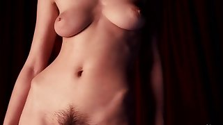 busty together more hairy brunette more natural breast teasing in solo erotic video