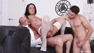 Angie Moon deals two dicks in the most amazing combat