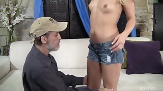 After wild dealings Megan Sweet is on her knees waiting for a facial