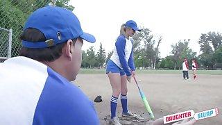 Sexy baseball chicks in uniform Taylor Blake swap stepdads for deprecatory threesome sex