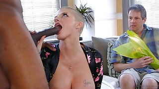 Interracial cuckold pussy fuck with bald bitch and black hung