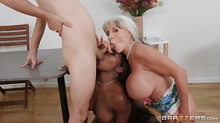 Busty mature loves helping this felonious babe just about the broad in the beam dick
