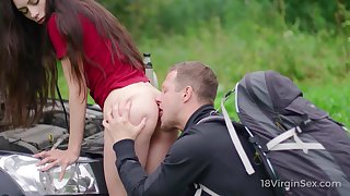 Sexy Russian brunette Arwen Gold is meetly fucked by biker outdoors